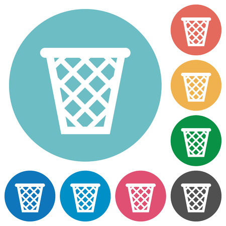 wastage: Flat trash icon set on round color background. Illustration