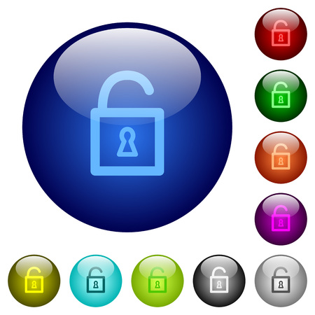 decrypt: Set of color unlocked padlock element glass web buttons.