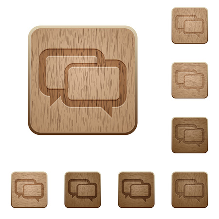 variations: Set of carved wooden Chat bubbles buttons in 8 variations.