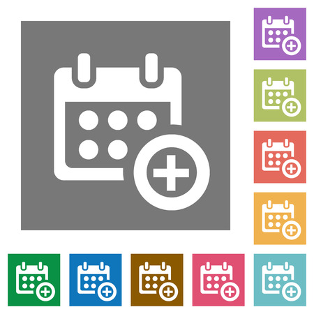 Calendar add flat icon set op kleur vierkante achtergrond. Stock Illustratie