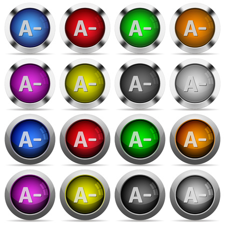 decrease: Set of Decrease font size glossy web buttons. Arranged layer structure.