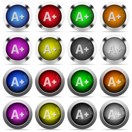 Set of Increase font size glossy web buttons. Arranged layer structure.