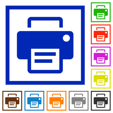 printing proof: Set of color square framed Printer flat icons on white background Illustration