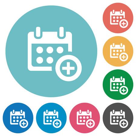 Wohnung Kalender hinzufügen Symbol auf Runde Farbe Hintergrund. Vektorgrafik