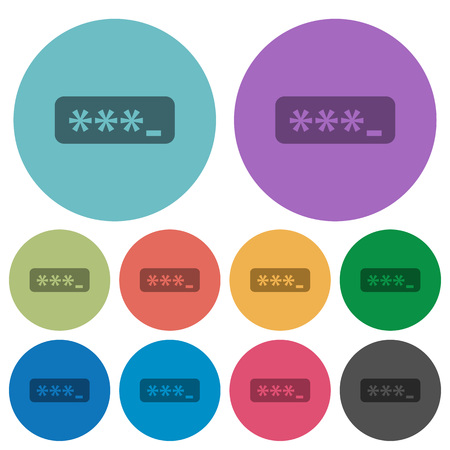 plain button: Color password typing flat icon set on round background.