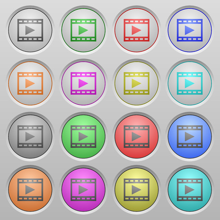 spherical: Set of Movie play plastic sunk spherical buttons. Illustration