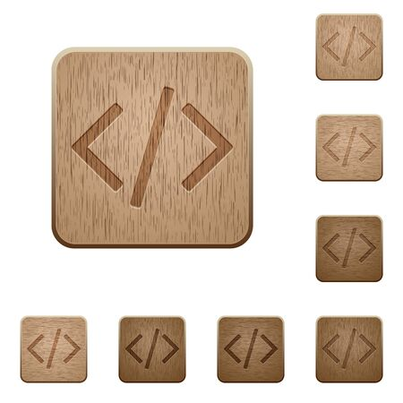 asp: Set of carved wooden Programming code buttons in 8 variations. Illustration