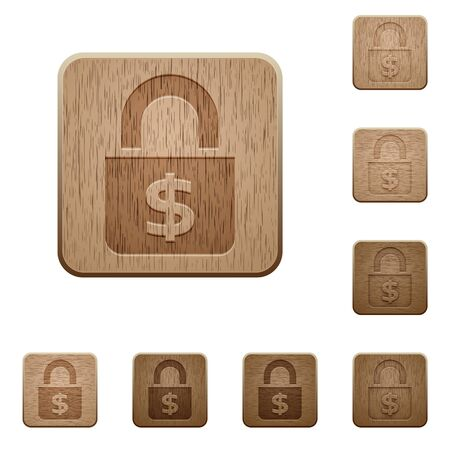 variations: Set of carved wooden Locked money buttons in 8 variations. Illustration