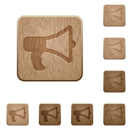 polished wood: Set of carved wooden megaphone buttons in 8 variations.