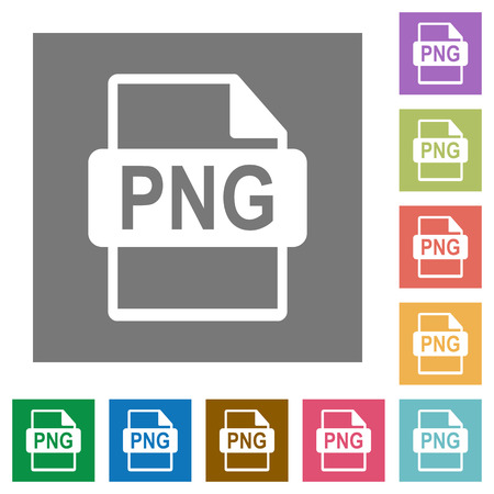 png: PNG file format flat icon set on color square background.