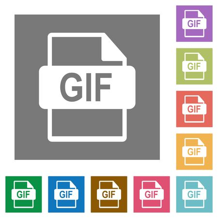 gif: GIF file format flat icon set on color square background.