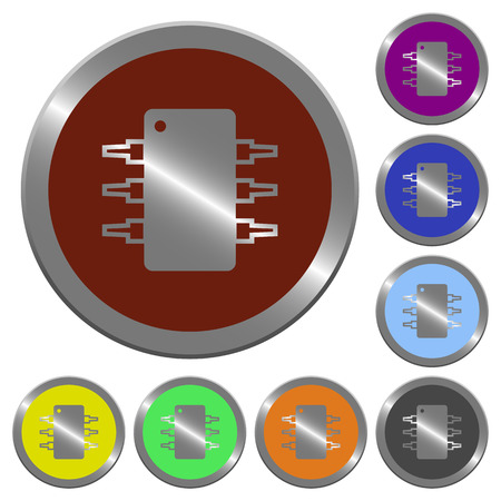 integrated circuit: Set of glossy coin-like Integrated circuit buttons. Illustration