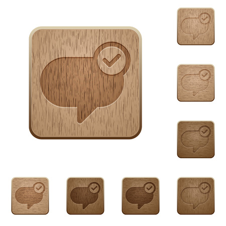 sent: Set of carved wooden Message sent buttons in 8 variations.