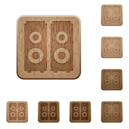 variations: Set of carved wooden speakers buttons in 8 variations.
