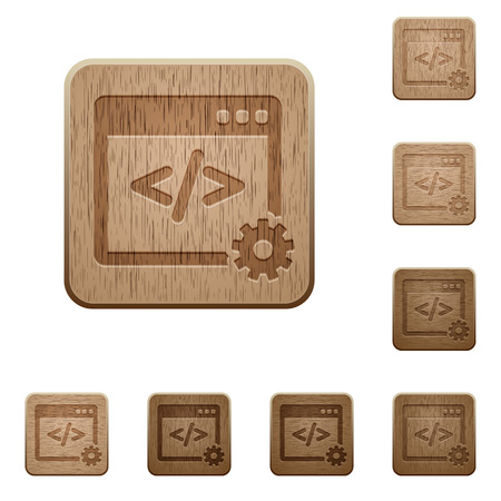 webshop: Set of carved wooden Web development buttons in 8 variations.