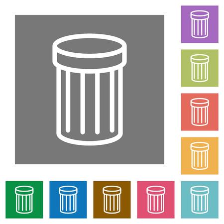Trash flat icon set on color square background.
