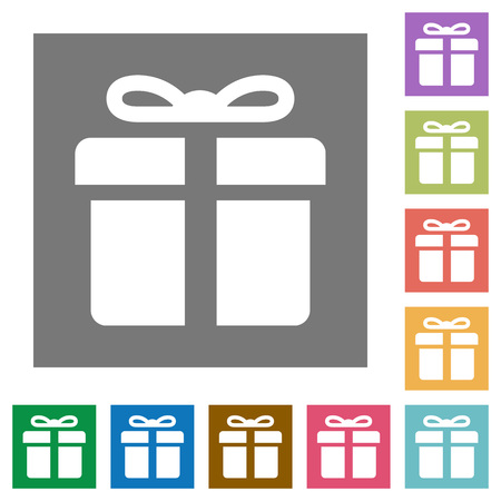 container box: Gift flat icon set on color square background. Illustration