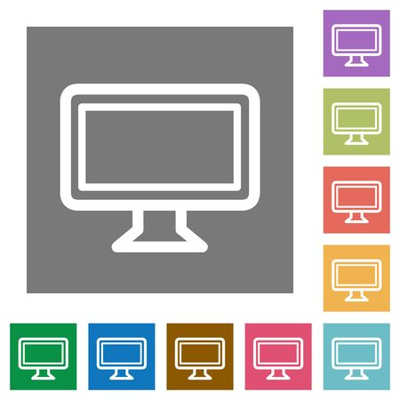 tft: Monitor flat icon set on color square background. Illustration
