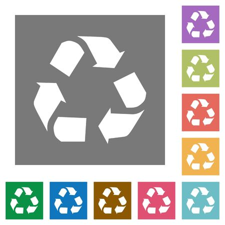 conservationist: Recycling flat icon set on color square background. Illustration