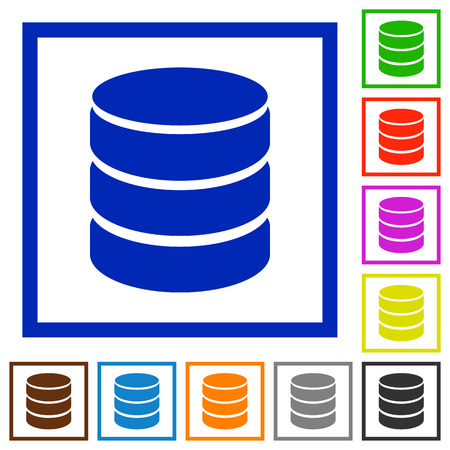mysql: Set of color square framed Database flat icons on white background