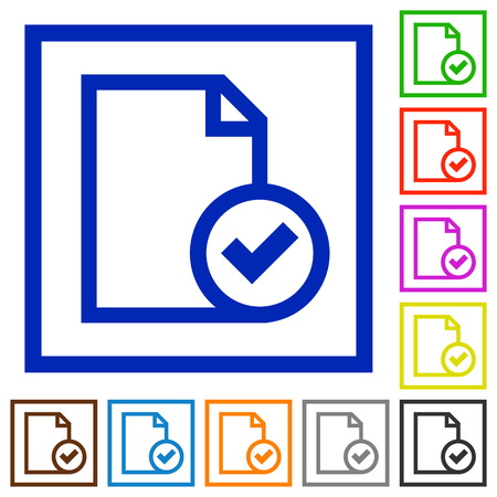 marked boxes: Set of color square framed Document accepted flat icons on white background Illustration