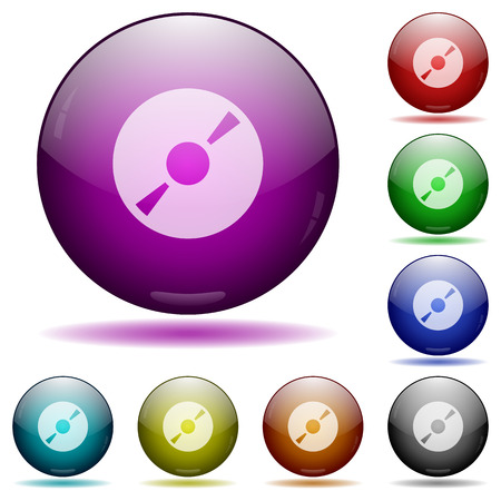 Set of color DVD glass sphere buttons with shadows. Illustration