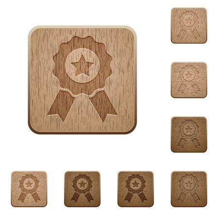 variations set: Set of carved wooden award buttons in 8 variations.