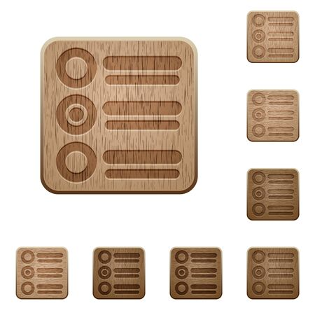 variations: Set of carved wooden Radio group buttons in 8 variations.