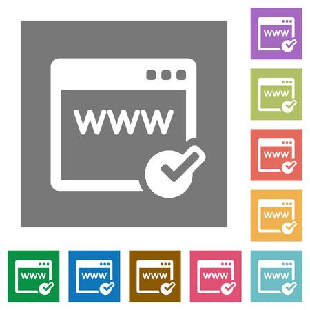 color registration: Domain registration flat icon set on color square background. Illustration