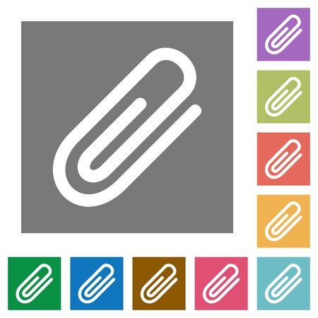 attachment: Attachment flat icon set on color square background. Illustration