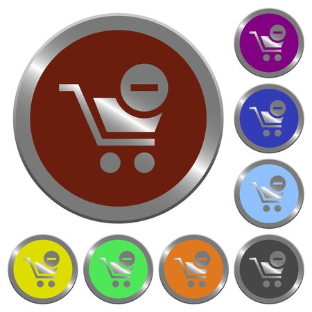 coinlike: Set of color glossy coin-like remove from cart buttons. Illustration