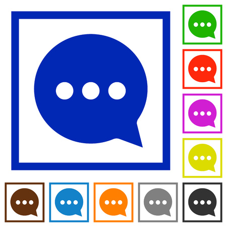 plain button: Set of color square framed Working chat flat icons on white background Illustration