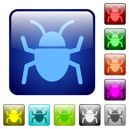 malicious software: Set of bug color glass rounded square buttons