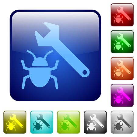 debugging: Set of bug fixing color glass rounded square buttons Illustration