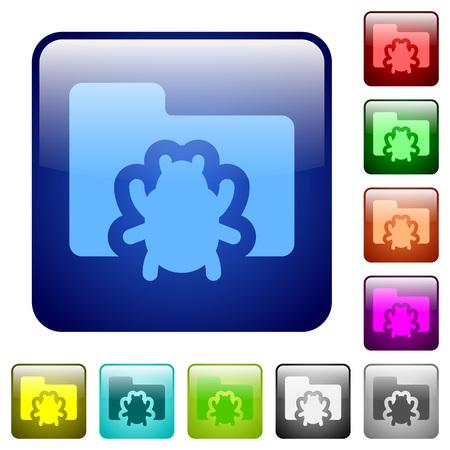 debugging: Set of bug folder color glass rounded square buttons