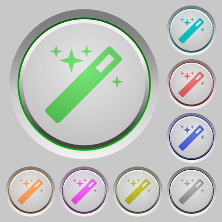 thaumaturge: Set of color Magic wand sunk push buttons.