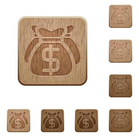 variations: Set of carved wooden Dollar bags buttons in 8 variations.