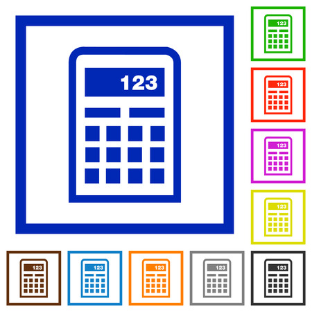 subtract: Set of color square framed Calculator flat icons on white background Illustration