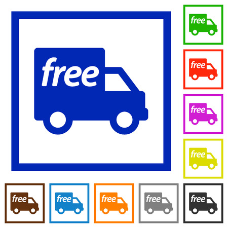 camion: Set of color square framed Free shipping flat icons on white background Illustration