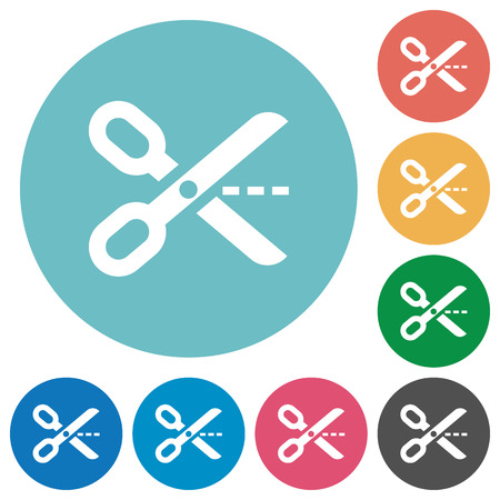 Flat cut out icon set on round color background. Illustration