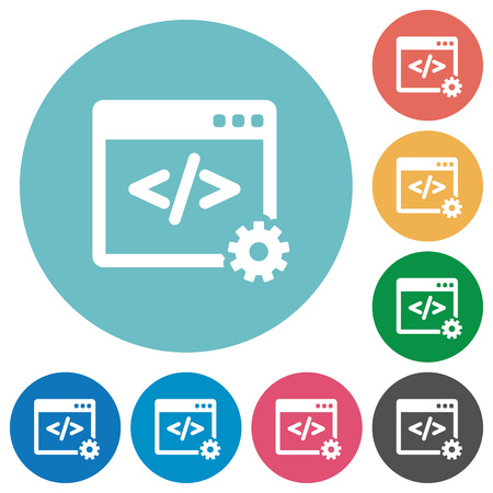 programer: Flat web development icon set on round color background.