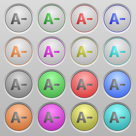 decreasing in size: Set of Decrease font size plastic sunk spherical buttons.
