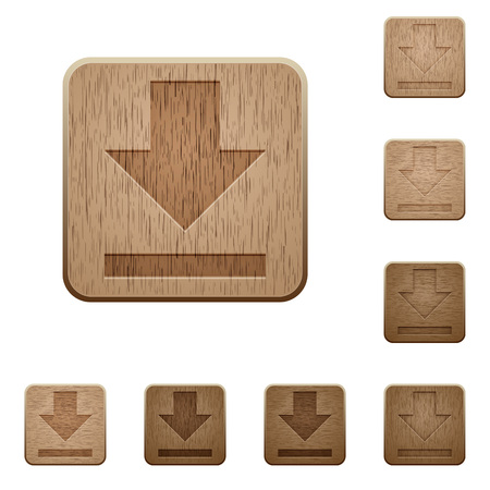 acquire: Set of carved wooden download buttons in 8 variations. Illustration