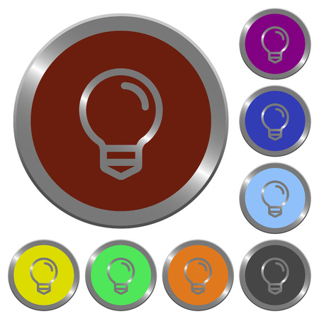 Set of color glossy coin-like light bulb buttons.