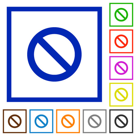 blocked: Set of color square framed blocked flat icons on white background
