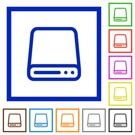 Set of color square framed Hard disk flat icons on white background Illustration