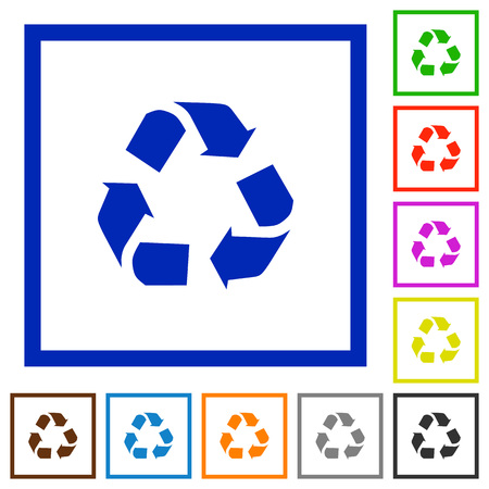conservationist: Set of color square framed Recycling flat icons on white background Illustration