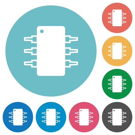 ic: Flat integrated circuit icon set on round color background.