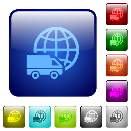 square buttons: Set of international transport color glass rounded square buttons Illustration