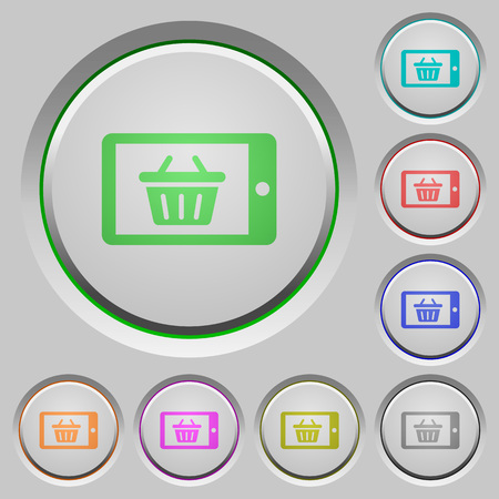 sunk: Set of color Mobile shopping sunk push buttons.